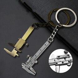 Portable 0-4cm Mini Vernier Calipers Keychain Measuring Gauging Tools Key Ring Style Simulation Model Ruler Vernier Caliper