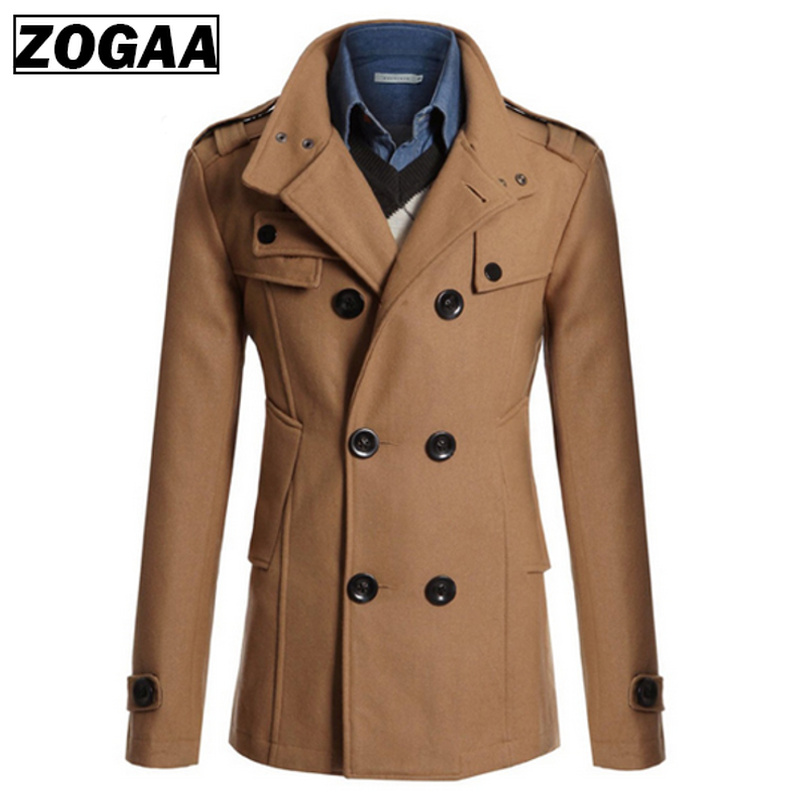 ZOGAA Autumn Mens Jacket Winter Warm Woolen Coat Casual Slim Fit Double-breasted Business Blends Jacket Overcoat Trench 4 Colors