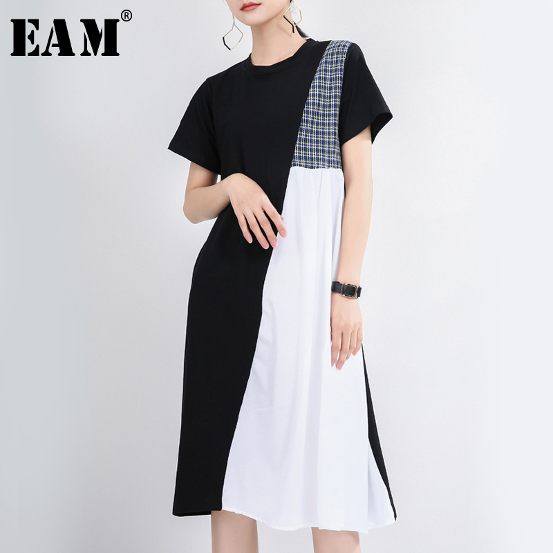 [EAM] Women Black Plaid Split Joint Temperament Dress New Round Neck Long Sleeve Loose Fit Fashion Tide Spring Summer 2020 1T359