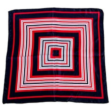 Lady Dark Blue Red White Stripe Print Square Kerchief Neck Scarf Wrap(China)