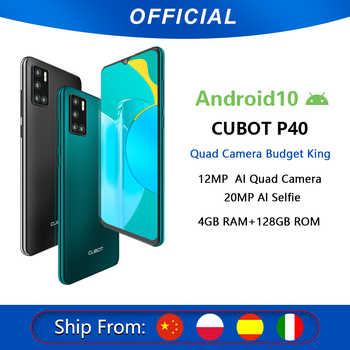Cubot P40 arka Quad kamera 20MP Selfie akıllı telefon NFC 4GB + 128GB 6.2 inç 4200mAh Android 10 çift SIM kart cep telefonu 4G LTE