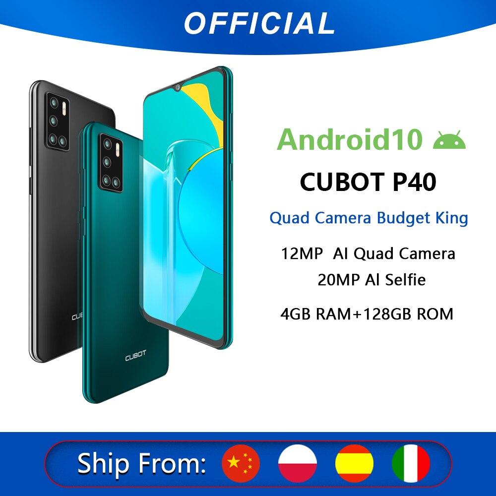 Cubot P40  cuádruple cámara trasera Smartphone NFC 4GB + 128GB 6,2 Inch 4200mAh batería Google Android 10 tarjeta SIM Dual teléfono móvil 4G LTE celular OTG
