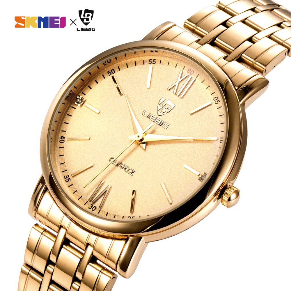 New Arrival Simple Men Quartz Watch Golden Steel Strap 3Bar Waterproof Male Wristwatches Relogio Masculino Dropshipping L1014