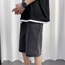 Летние джинсовые шорты мужская мода промывают ретро случайные короткие джинсы мужчины уличной моды диких свободные прямые пятиточечные брюки Мужские
