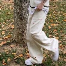 Calças de brim femininas 2021 nova y2k streetwear em forma de coração bordado cintura elástica vintage baggy calças jeans reta calças largas perna