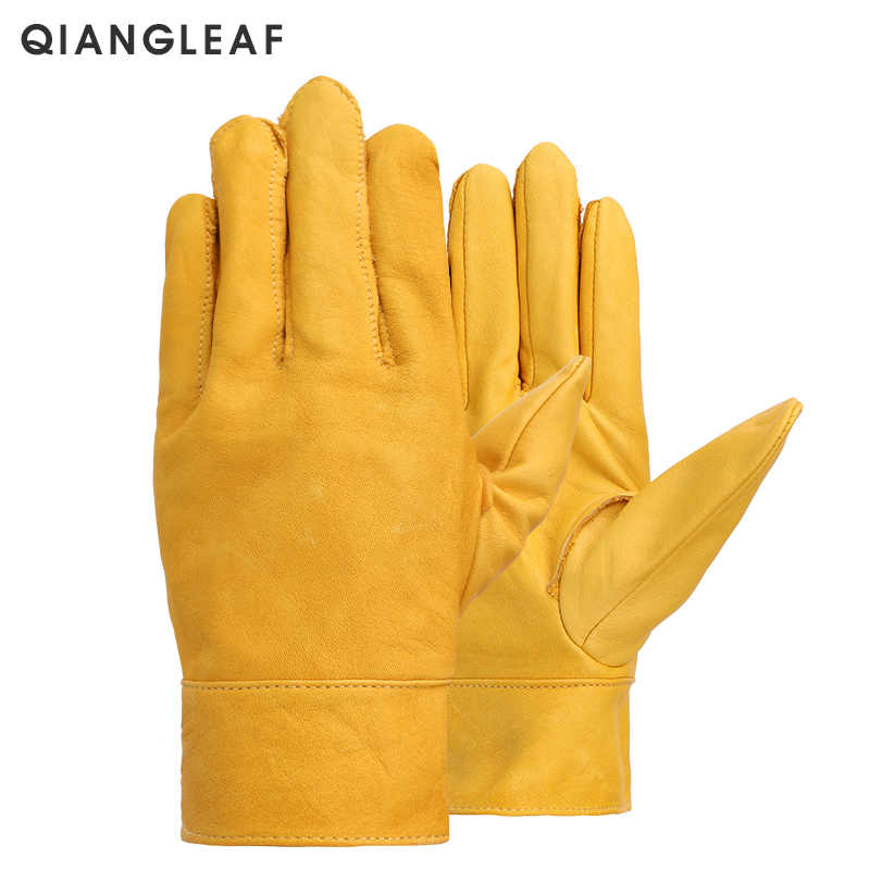 QIANGLEAF Brand New Yellow Work Drivers Gloves Gardening Household Work Cowhide Leather Safety Working Glove Men&Women 530