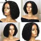 Афро кудрявые человеческие волосы парики 13х6 кружевной передний парик для черных женщин предварительно выщипанные отбеленные узлы глубоки... - 4
