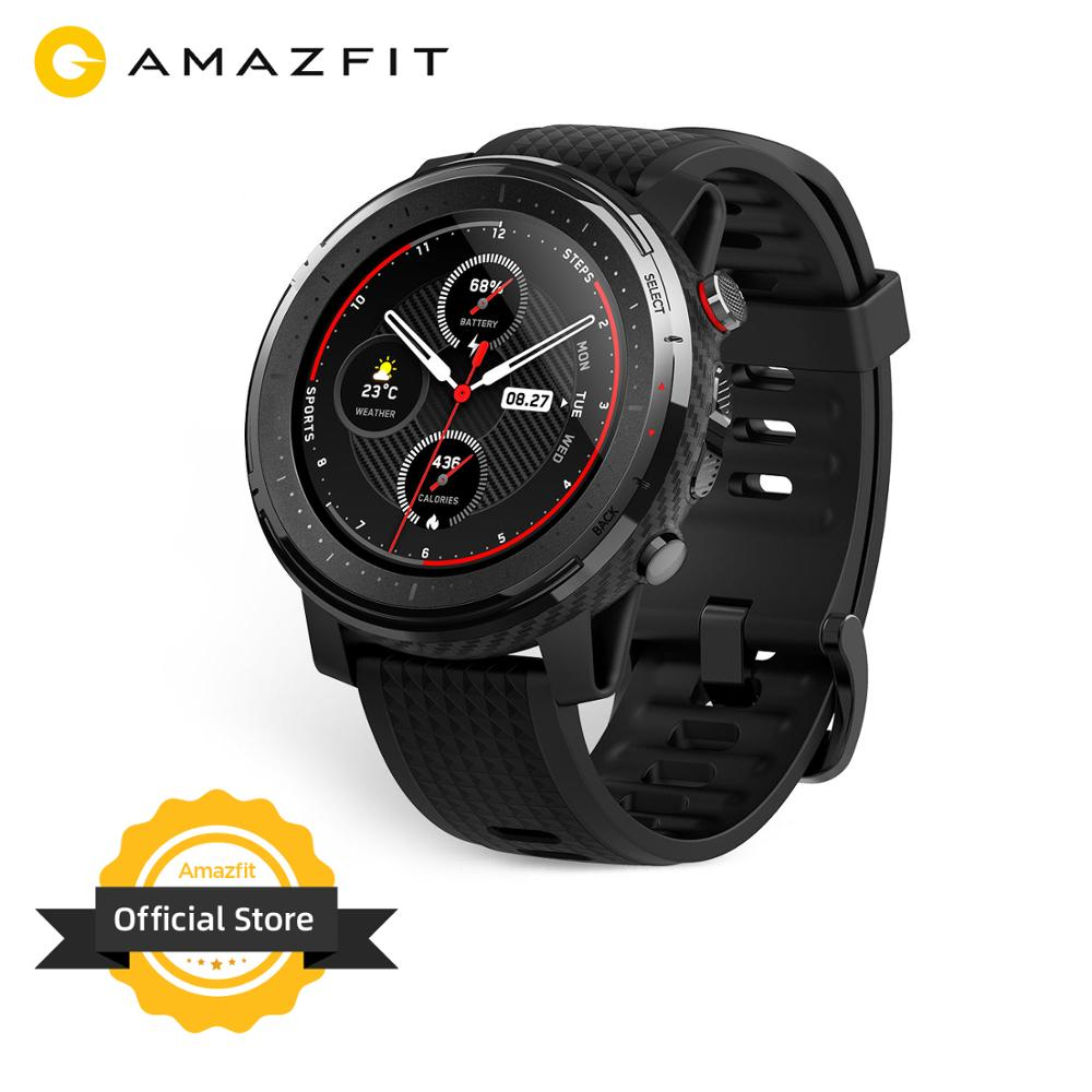 IN Stock Global Version New Amazfit Stratos 3 Smart Watch GPS 5ATM Bluetooth Music Dual Mode 14 Days Smartwatch For Android 2019