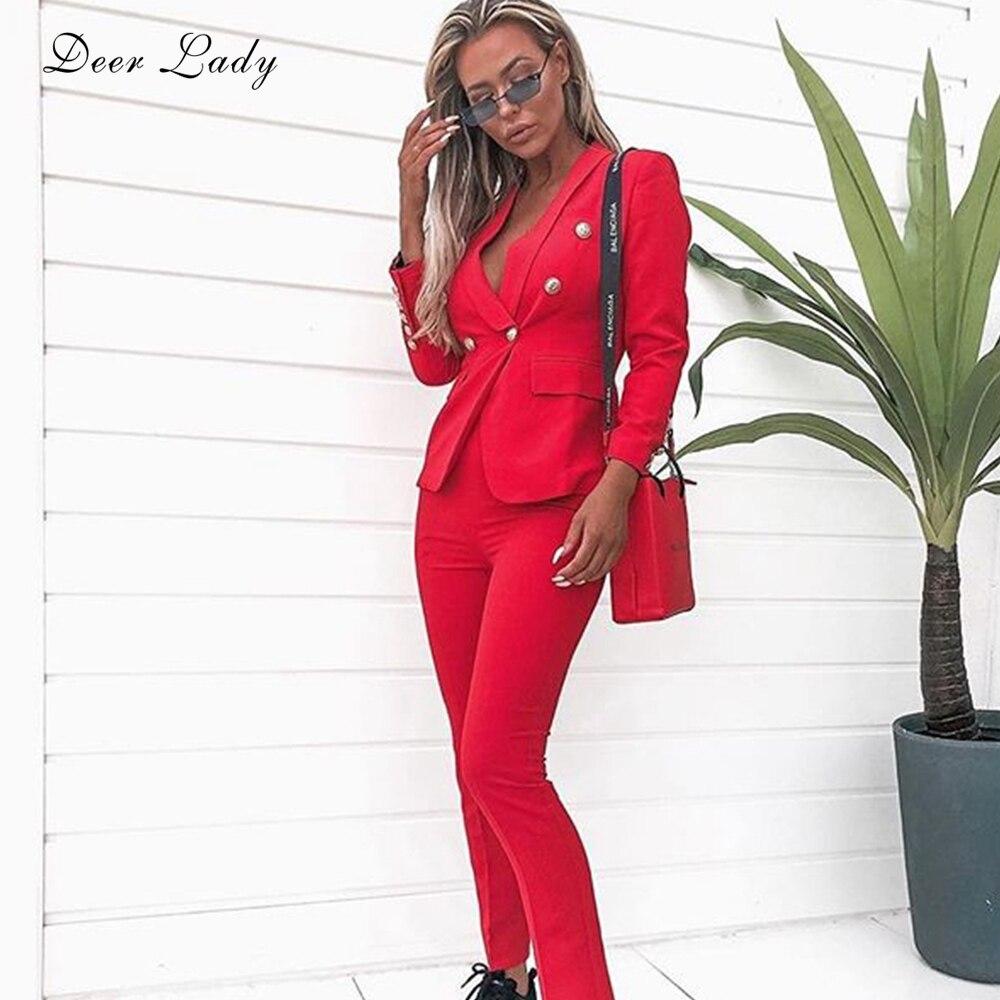 Women 2 Piece Set Winter 2019 Red Blazer Buttons Office Lady Blazer Jackets Long-Sleeve Celebrity Runway Evening Party Set Suit