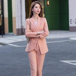 Image 2 - New Women Double Breasted Pant Suit S 5XL Casual Green Khaki Pink Stripe Jacket Blazer And Pant 2 Piece Suit Set
