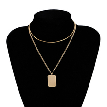 New Fashion Necklace For Women Golden And White Color Double-Stranded Geometric Square Pendant Elegant Choker Female Jewelry