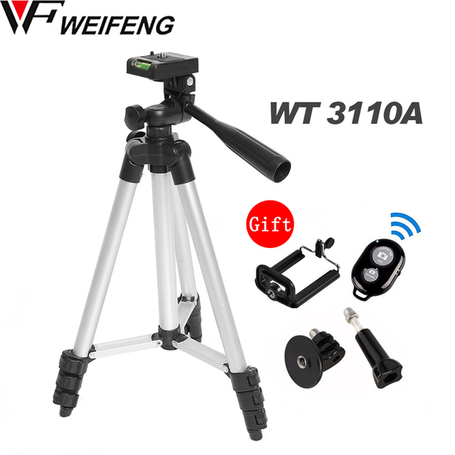 WF 3110A חצובה עם 3 הדרך HeadTripod לניקון D7100 D90 D3100 DSLR Sony NEX 5N A7S Canon 650D 70D 600D GoPro גיבור 4 3 +/3/2/1