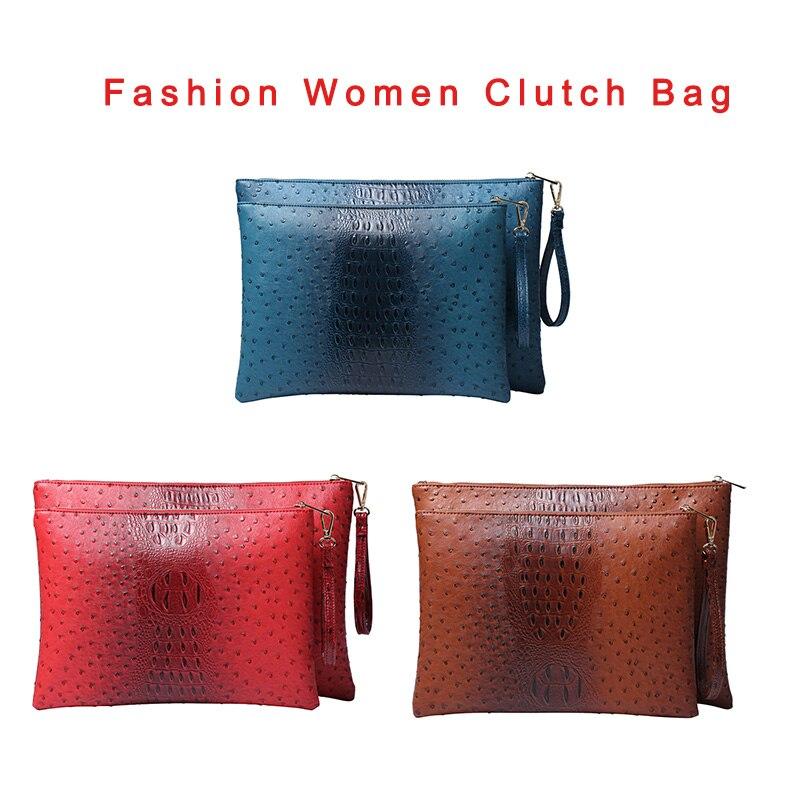 2020 Luxury Leather Crocodile Ostrich Envelope Wristlet Bag Fashion Women Big Size Laptop Bag Pouch Bag Snake File Bag