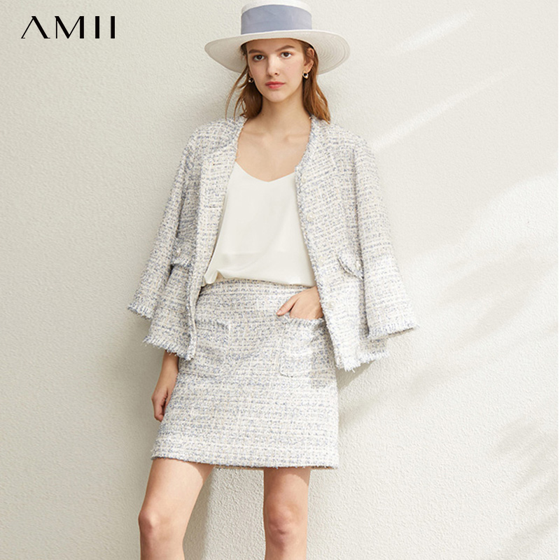 Amii Office Lady Elegant Two Piece Set Spring Women Sweet  Jacket High Waist Mini Skirt Female Suits 12040108