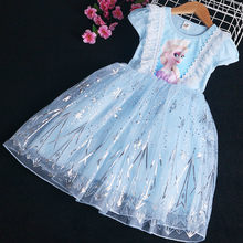 Verano congelados Elsa de malla de Boda de Princesa vestidos de encaje para niñas y bebés vestido de los niños de dibujos animados ropa para bebé niñas 2-7Y