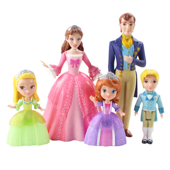 5PCS Disney Character Toy Princess Sofia PVC Action Model Cute Cartoon Birthday Gift Children