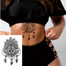 1 PIECE Back or Sternum Body Mandela With Dream Catcher Flower Waterproof Temporary Tattoo Art Sexy Waist Fake Tatoo