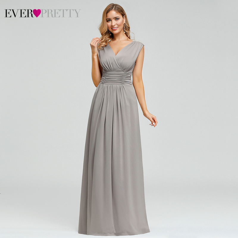 Sexy Grey Evening Dresses Long Ever Pretty EP00706GY Ruched A-Line Double V-Neck Stretchy Simple Evening Gowns Abendkleider 2019