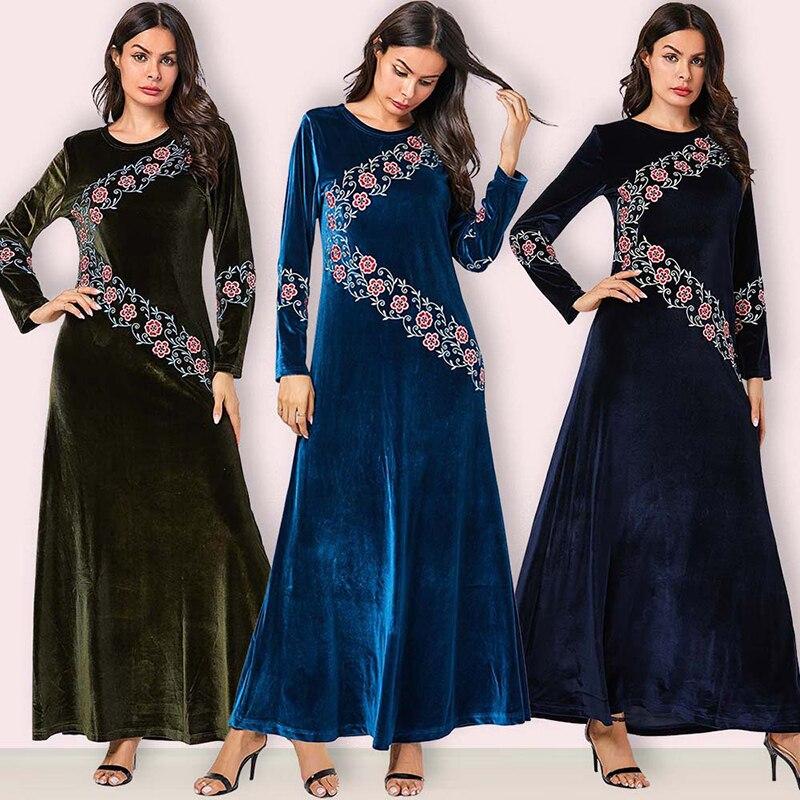 Plus Size Abaya Kaftan Dubai Long Sleeve Hijab Muslim Dress Islamic Clothing Abayas For Women Turkish Dresses Caftan Robe Islam