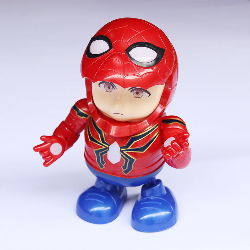 Second Generation Dancing Spider-Man Robot Face Doubled Mask Iron Man Electric Walk Light Music Toy