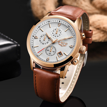 2020 LIGE Men Watch Top Brand Blue Leather Chronograph Waterproof Sport Automatic Date Quartz Watches For Mens Relogio Masculino