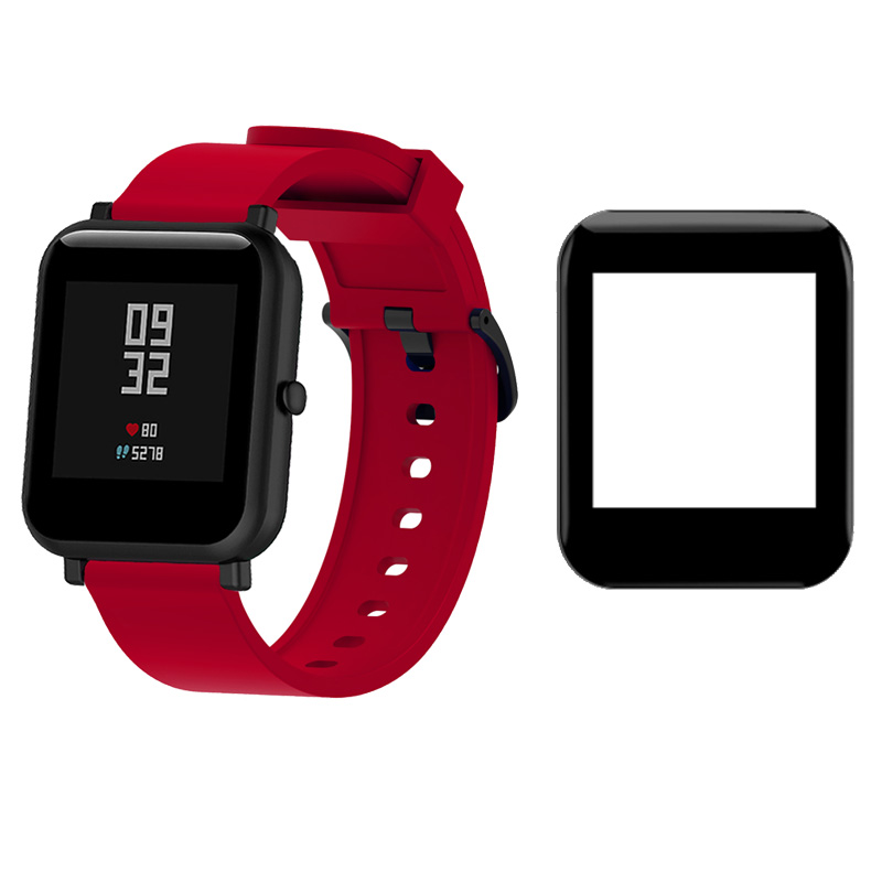 2Pcs <font><b>20mm</b></font> Watch <font><b>Band</b></font> <font><b>For</b></font> Xiaomi <font><b>Amazfit</b></font> Bip Bracelet Silicone Strap Protector LCD 3D Full Screen Coverage Protective Film image
