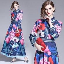 Женское платье макси с отложным принтом boho повседневное синее