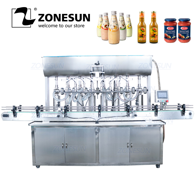 ZONESUN YT8T-8G Automatic Honey Fruit Juice Soap Detergent Paste Alcohol Gel 8 Heads Bottle Filling Machine Line