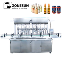 ZONESUN YT8T 8G Automatic Honey Fruit Juice Soap Detergent Paste Alcohol Gel 8 Heads Bottle Filling Machine Line