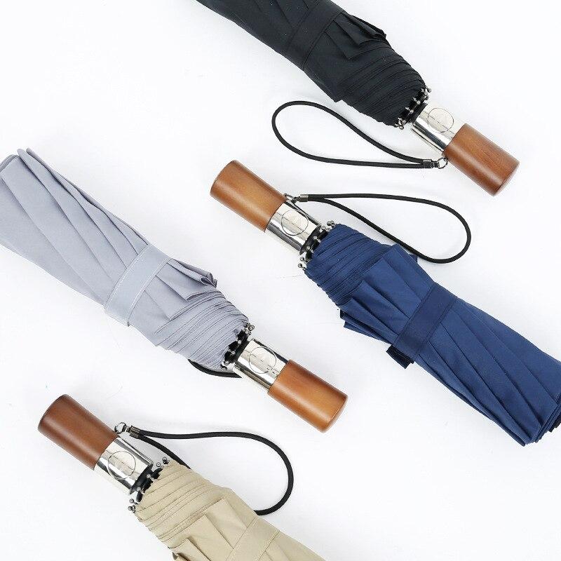 Ten Bone Windproof Umbrella Three Fold Fully Automatic Rain Or Shine Folding Umbrella Men's Business Solid Wood Retro Gentleman