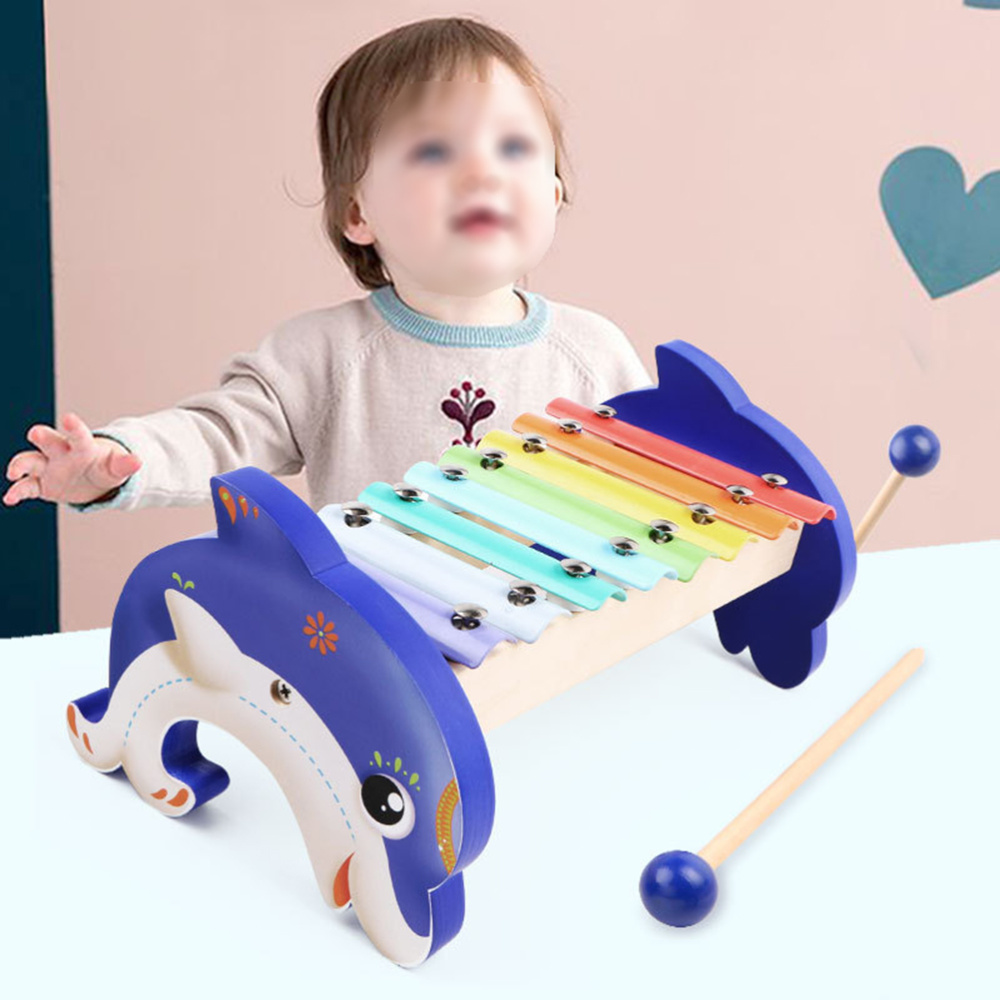 Eight Scale Knock Piano Toy Dolphin Knocking Piano Toys Wooden Kids Musical Toys Children Percussion Toy