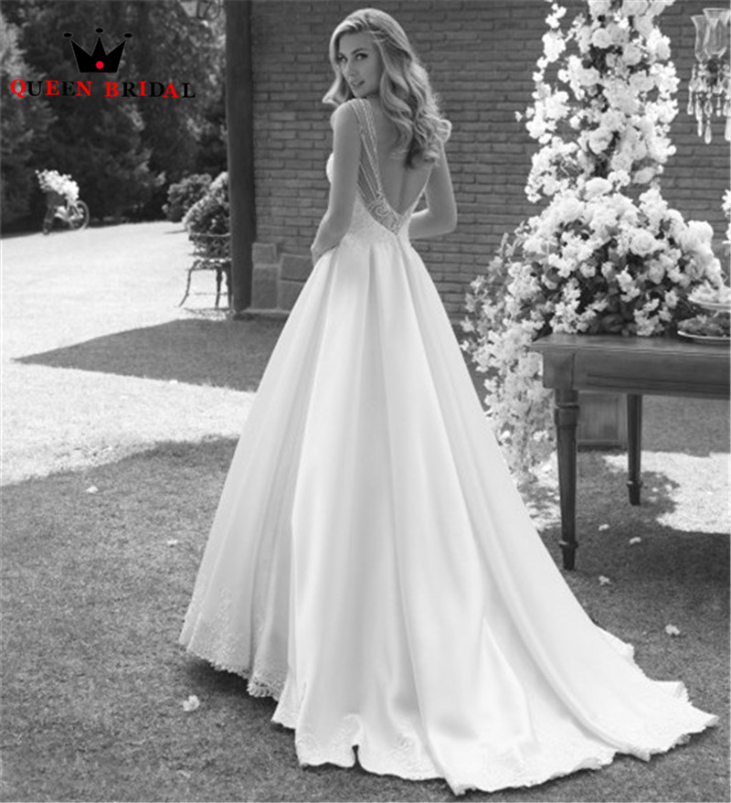 2020 New Design Wedding Dresses Ball Gown Satin Pearls Beading Crystal Elegant Formal Wedding Gowns Customize NO21
