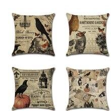 Halloween Retro Crow Skull Throw Pillow Covers Pillowcases housse coussin Decorative Sofa Cushion Cover fundas cojines decor