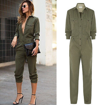 Hot Sale Ladies Sexy Vintage Romper Long Pants Women Slim Bodycon Jumpsuit Long Sleeve Army Green Solid Casual Cargo Pants 1