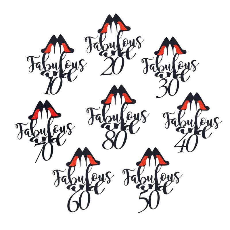 INSรองเท้าส้นสูงLady 20 30 40 50 60 เค้กวันเกิดแฮปปี้Topperผู้ชายสีแดงCravat Cupcake Topperสำหรับวันเกิดตกแต่งเค้กปาร์ตี้