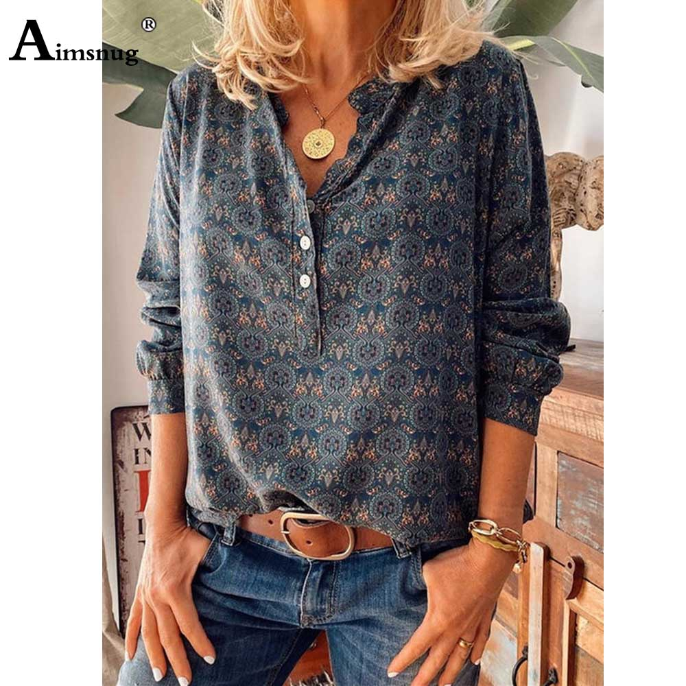 Plus Size 5x Boho Print T-shirt Ladies Elegant Leisure Casual Women's Top Single-breasted 2020 Summer V-neck Tee Shirt Pullovers(China)