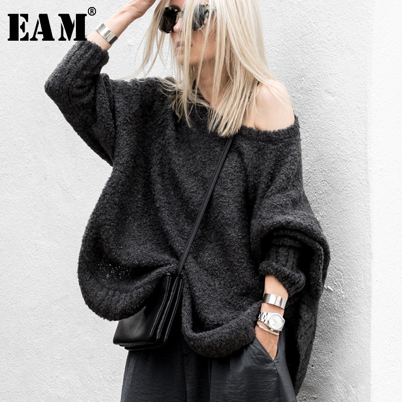 [EAM] 2019 New Autumn Fashion Large Size Long Flare Sleeve V-neck Knitting Pullover Solid Collar Keep Warm Sweater Woman BL8