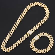 Rhinestone Iced Out Cuban Link Chain Necklace Gold Miami Curb Cuban Chain Bling Rapper Necklace Bracelet for Men HipHop Jewelry