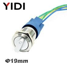 YIDI, 19 мм, металлический телефон Селекторный поворотный переключатель 2, 3-позиционный кнопочный переключатель 1NO1NC DPST, ручка включения и выкл...