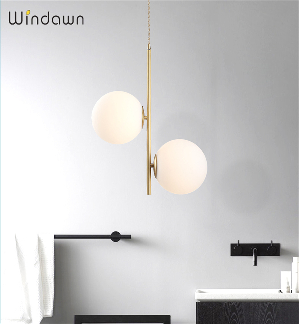 Windawn Nordic Pendant Lights Glass Ceiling Lamp Iron Bedside Lamp Classics Simple Hotel Bedroom Living Room Office Ceiling Lamp
