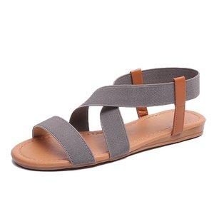 Image 2 - סנדלים שטוחים נשים נעלי גלדיאטור בוהן פתוח אלסטי שטוח סנדלי נקבה מקרית נשים של שטוח פלטפורמת חוף נעליים