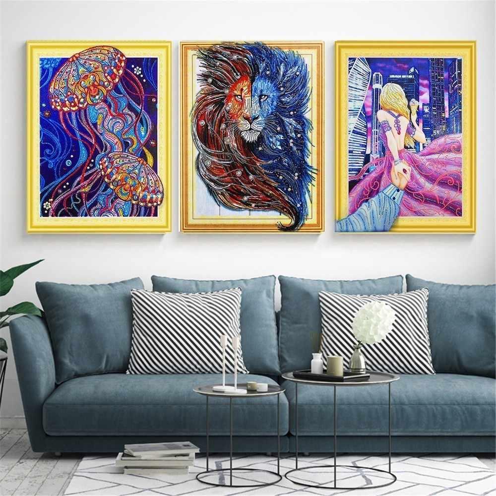 2019new 5D DIY Hình Dạng Đặc Biệt Tranh Gắn Đá Chéo Nữ Thời Trang Kim Cương Thêu Động Vật Hình Ren Trang Trí Nhà 40x50cm
