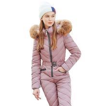цена на Winter Ski Suit Women High Quality Hooded Ski Jacket +Pants Snow Warm Windproof Skiing Clothes Snowboarding Female Ski Suits