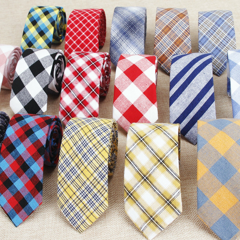 Fashion Plaid Cotton Ties For Men Classic Skinny 6cm Adult Neck Tie Black Navy Pink Red Cravate Narrow Thick Suits Neck Ties