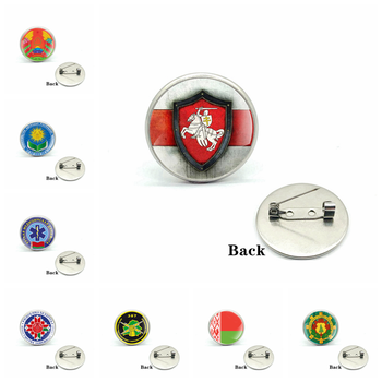 Republic of Belarus Symbol Badge Glass Cabochon Brooches Charms Knight Men and Women Pins Jewelry Gifts image