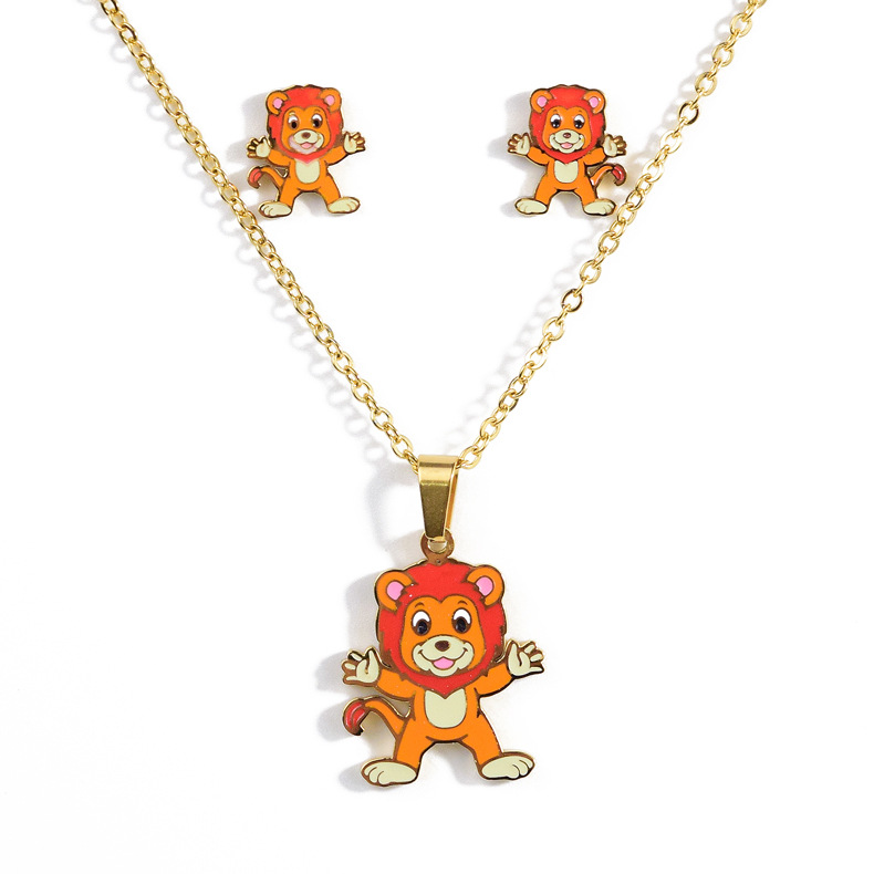 Stainless Steel Necklace Cartoon Animal Dog/fawn/yellow Duck/penguin/golden Necklace Earrings Fashion Jewelry Set Children Gift
