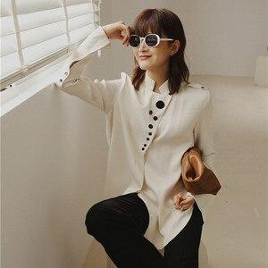 Image 2 - Cheerart designer topos blusa de cetim manga longa botão up gola camisa feminina moda senhoras blusa outono 2019