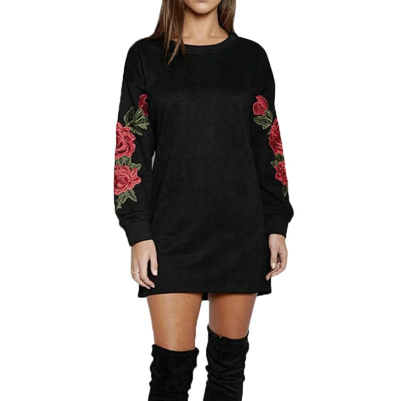 Осенние женские пуловеры размера плюс S-5XL с длинным рукавом и цветочной вышивкой, черные и белые толстовки с капюшоном KH826470