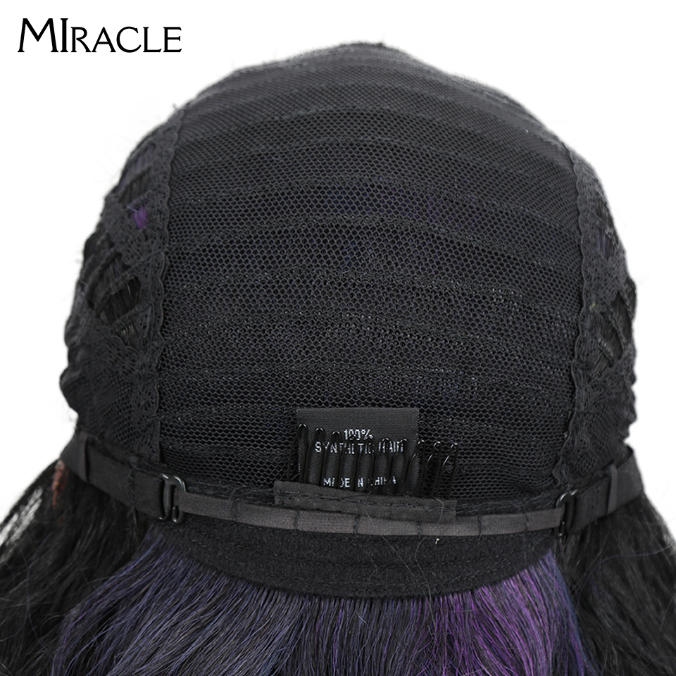 "Image 5 - Miracle Hair Ombre Wig Kinky Curly Deep Middle Part Lace Wigs 150 Density Long 28"" Heat Resistant Synthetic Wigs For Black Women-in Synthetic None-Lace  Wigs from Hair Extensions & Wigs"