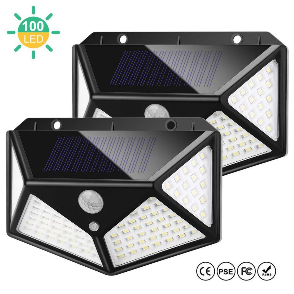 100 LED Solar Light IR Motion Sensor Outdoor Waterproof Solar Powered Three Side Lighting Wall Lamp Villa Garden Decoration Lamp
